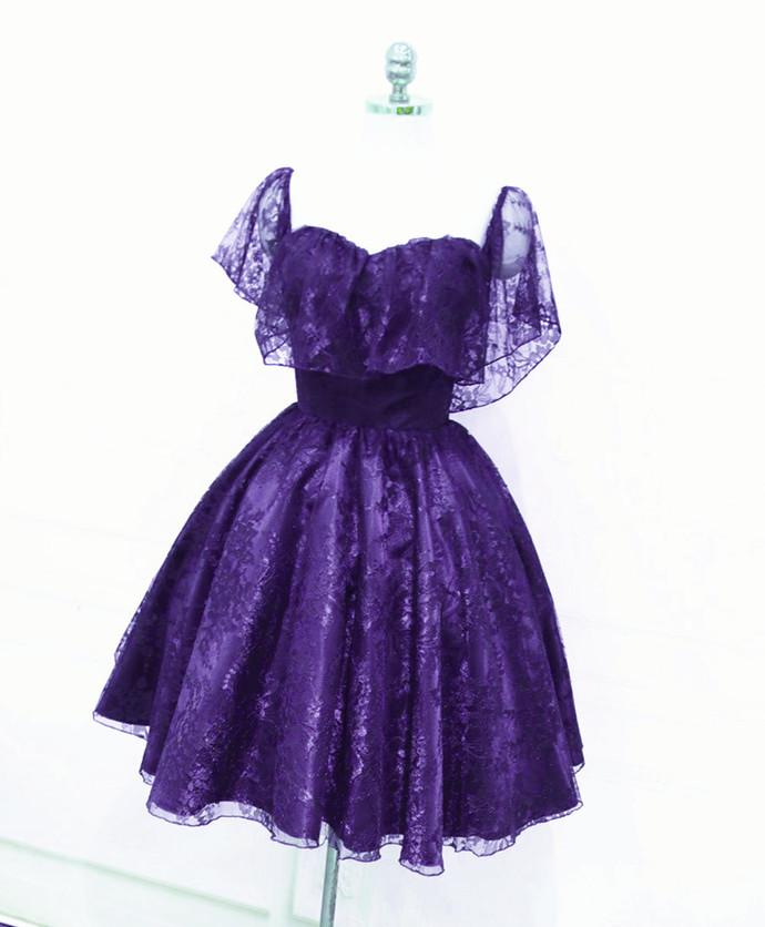Beautiful Dark Purple Lace Short Homecoming Dress, Wedding Party Dress