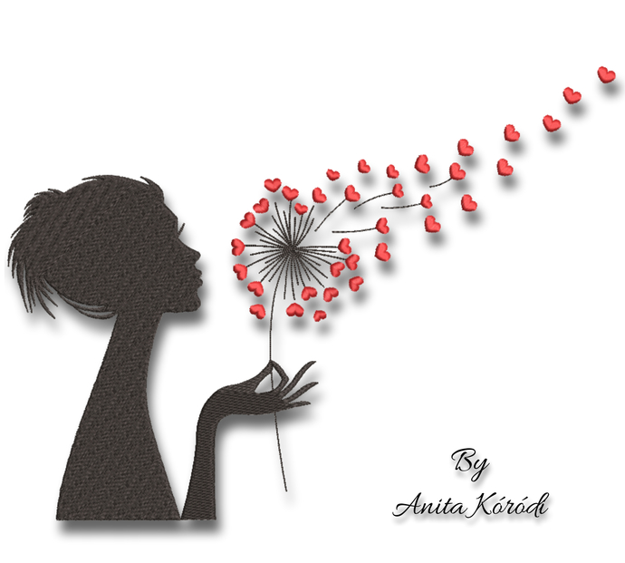 Embroidery Machine Design Girl with Dandelion digital instant download pattern