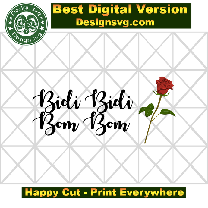 Bidi Bidi Bom Bom Svg Como La Flor Rose By Bimbimshop On Zibbet