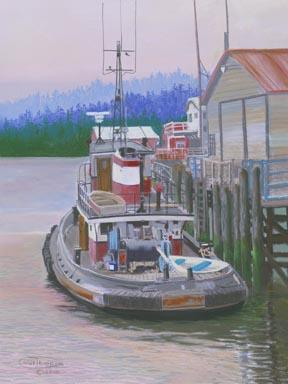 """""""The Rest Of Earnest"""" Paper Giclee Print Tugboat by Carol Thompson"""