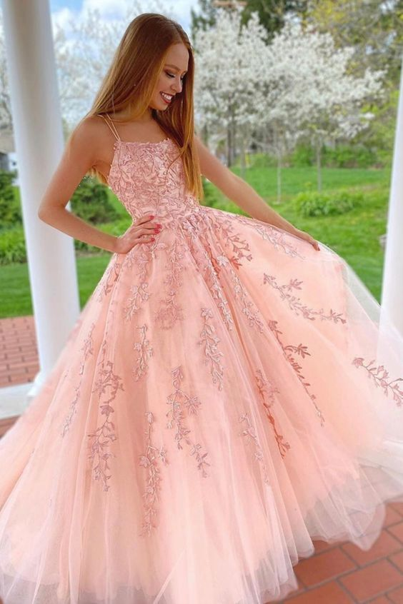 A-line pink tulle long prom dress with double straps and lace appliques