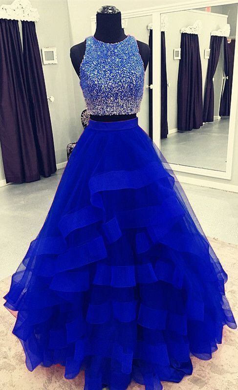 two piece ruffles ball gown prom dresses sequin beaded