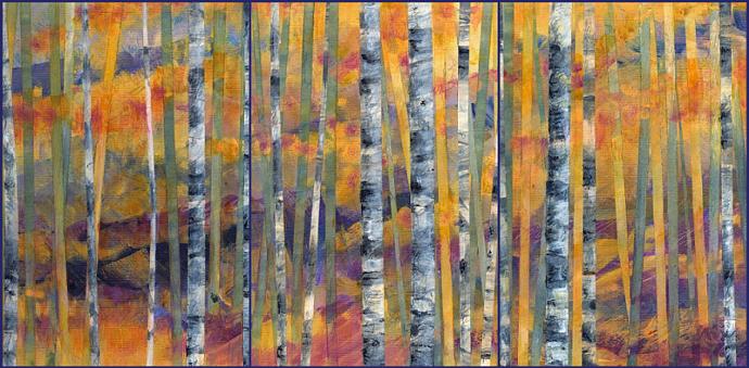 Golden Hillside Triptych