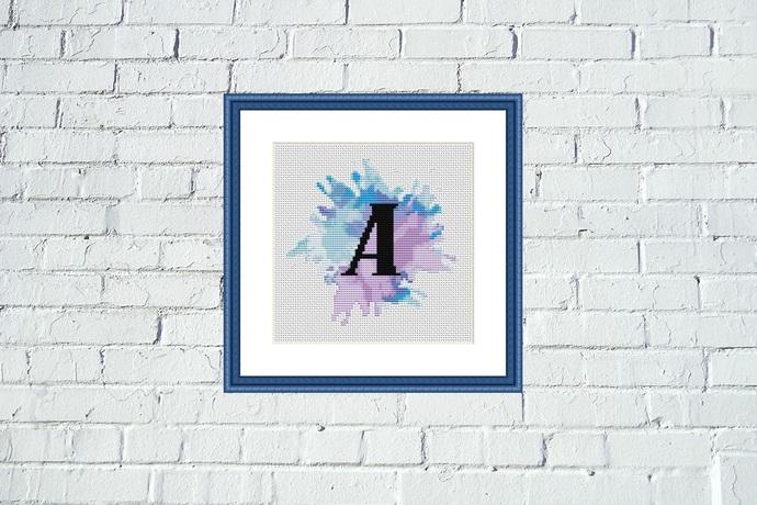 Letter A watercolor lettering cross stitch pattern