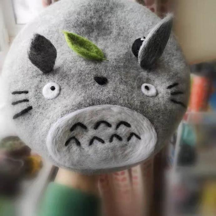 Needle Felted French Beret Hat: My Neighbour Totoro