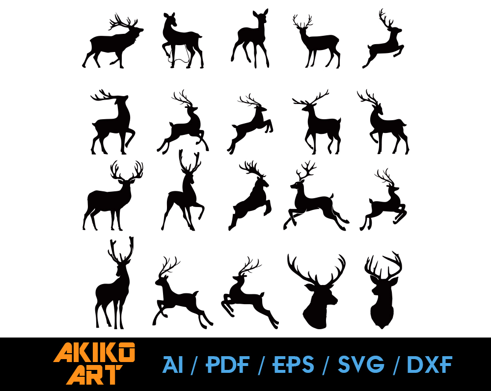 Deer Vector Reindeer Dxf Eps Png Cricut By Akiko Art On Zibbet