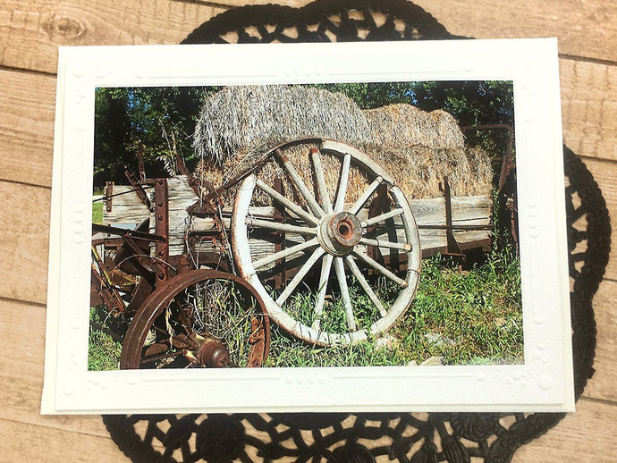 Wheeled History Fine Art Photography Card, Wagon Wheel, Country, Rockerville,