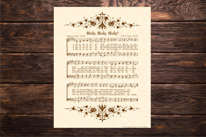 HOLY, HOLY, HOLY! Vintage Verses DIY Print It Yourself Sheet Music Wall Art