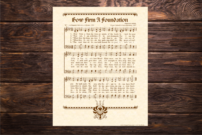 HOW FIRM A FOUNDATION Vintage Verses DIY Print It Yourself Sheet Music Wall Art