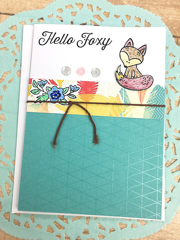 Hello Foxy Greeting, Note Card, Friend, Teal, Flowers, Hand-Colored, Sparkle,