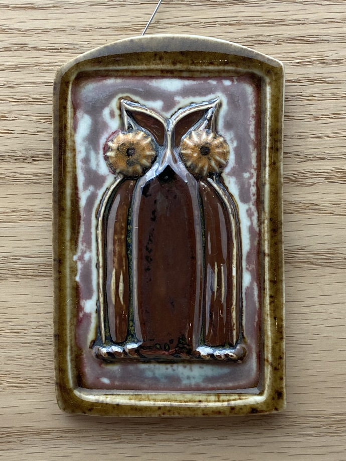 "Small Owl plaque in dark colors - 4 5/8"" X 2 7/8"""