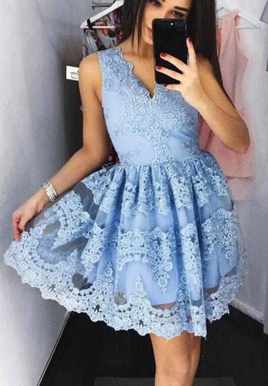 Cute Blue Short Lace Party Dress, Blue Homecoming Dress