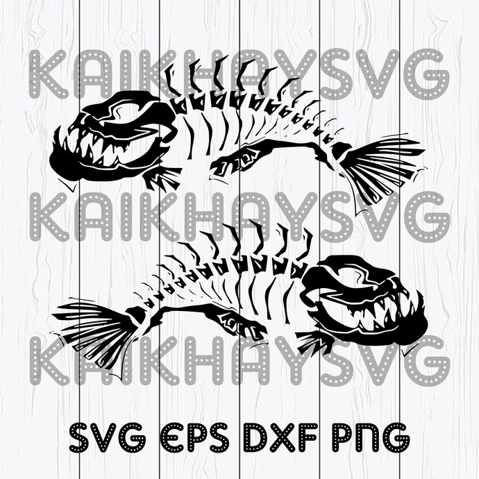 Download 2 Skeleton Fish Boat Decals Large Fishing By Kaikhaystore On Zibbet