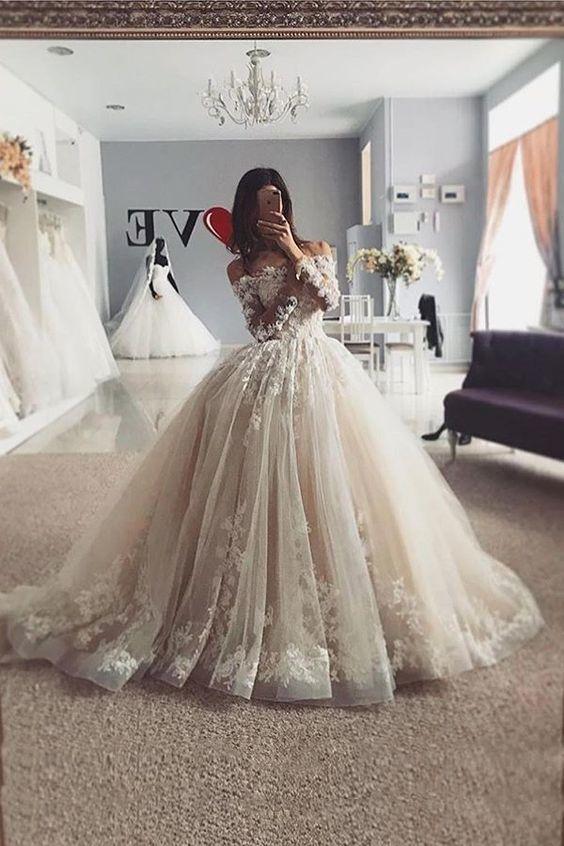 light champagne floral wedding dresses ball gown elegant simple lace applique