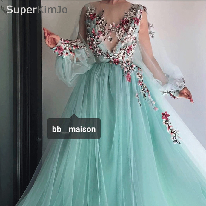 turquoise blue prom dresses long flare sleeve embroidery applique elegant simple