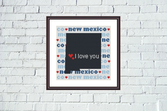 New  Mexico state map cross stitch embroidery