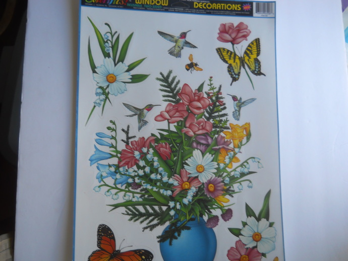 Floral Flowers Butterflies Window Cling with Hummingbirds