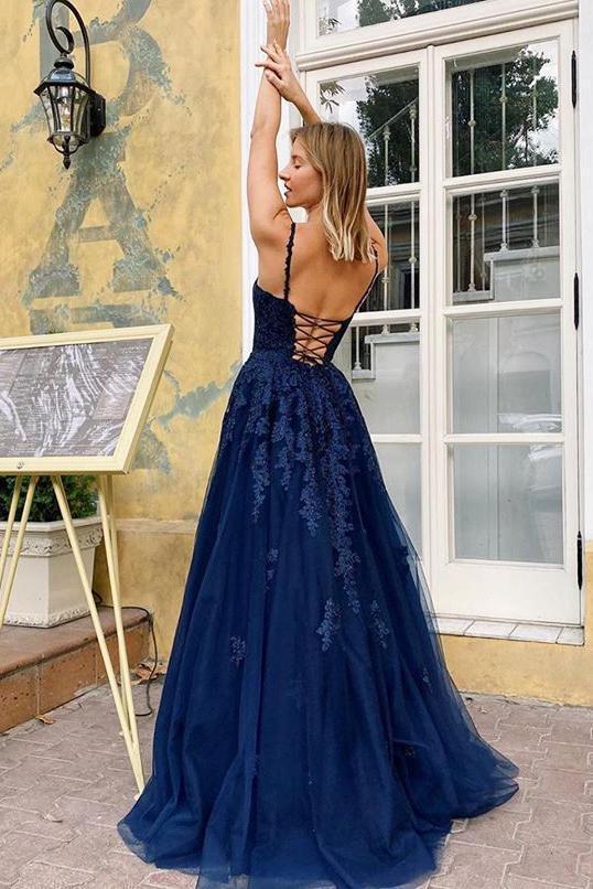 Elegant Blue V Neck Lace Long Prom Dresses Spaghetti Straps Evening
