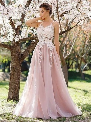 Light Pink Evening Dress, Sleeveless A Line Party Dress