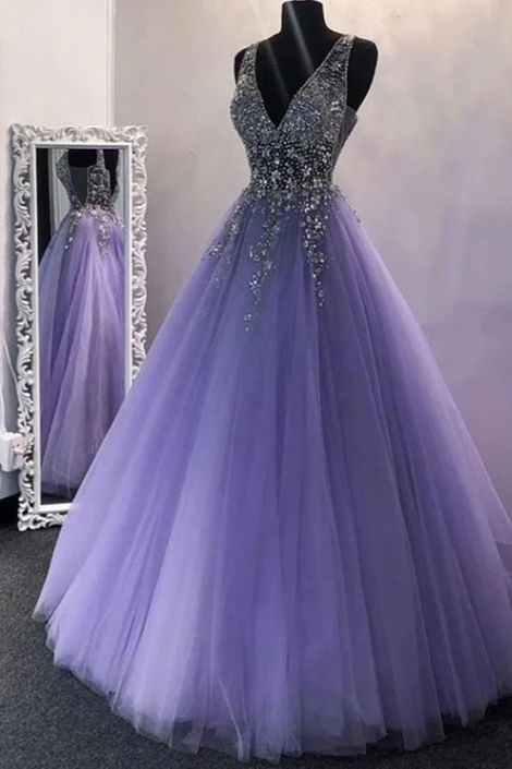 A Line V Neck Purple Beaded Long Prom Dresses, V Neck Backless Purple Long