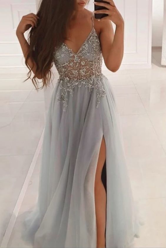 A-Line Beaded Grey Long Prom Dress with Crystal