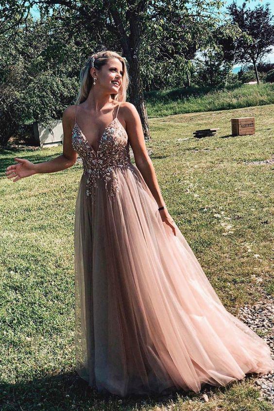 Straps Beading Rose Gold Prom Dress