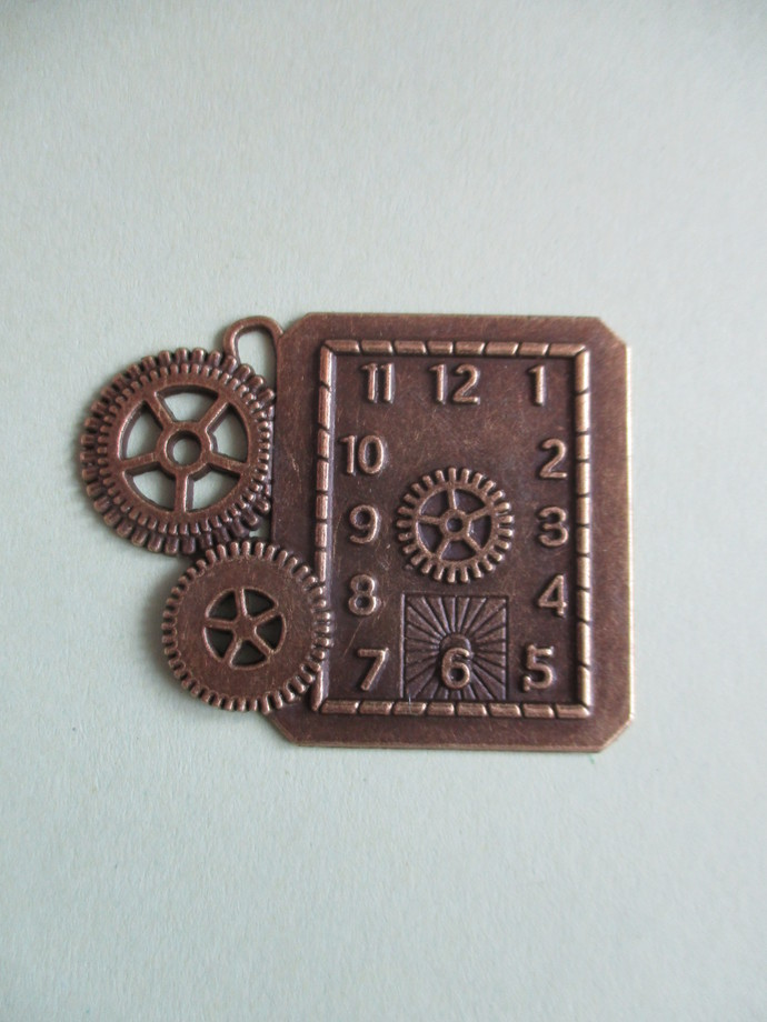 4 x 5cm Bronze Clock Charm