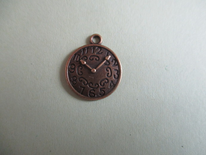 2 x 2cm Bronze Clock Charm