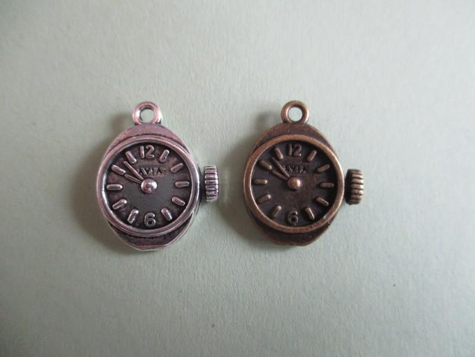 2 x 1.5cm Silver or Bronze Clock Charm