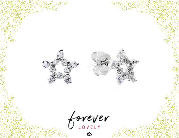 Open Star Studs - CZ Silver Studs - Tiny Stone Earrings - CZ Post Earrings -