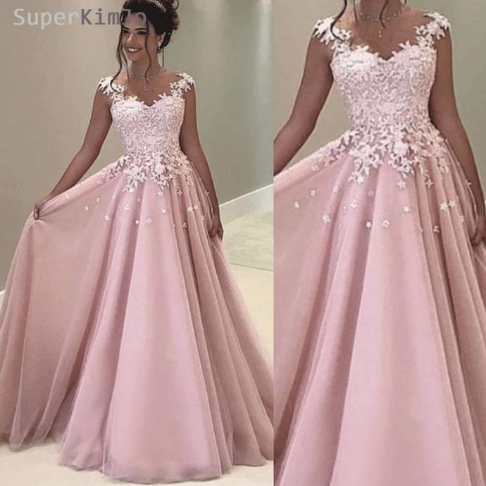 cap sleeve pink lace prom dresses 2021 vestido de longo a line elegant simple