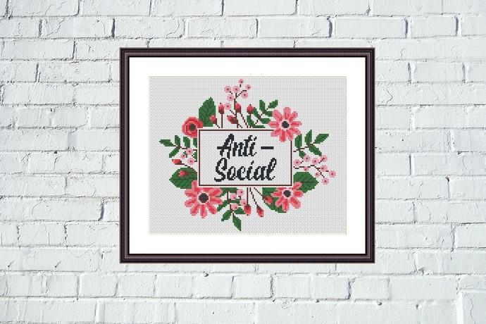 Anti-social funny cross stitch pattern