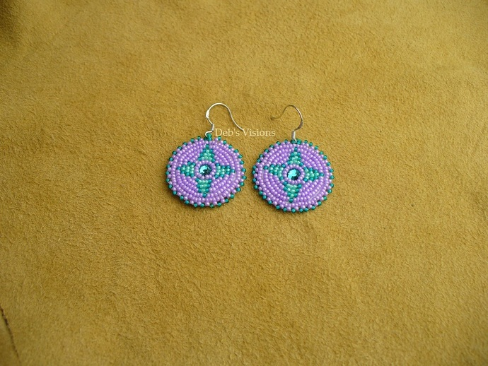 Native American Style Rosette Beaded Earrings in Lavender and Greens