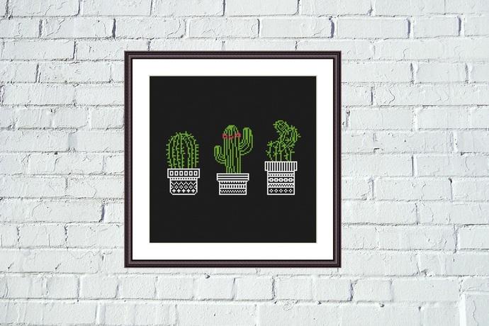 Cactuses funny cross stitch pattern