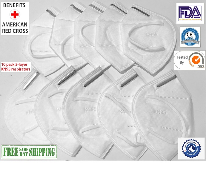 10 pack 5-ply KN95 KN-95 Face Mask Respirator CE FDA Certified FDA Listed FDA