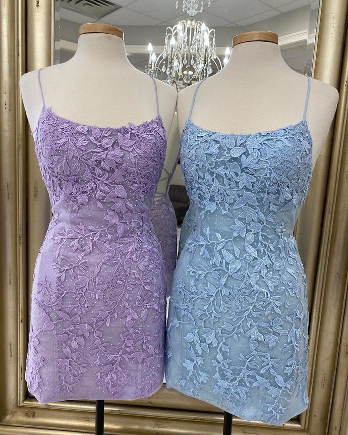 Tight Lavender Lace Mini Party Dress 80023787