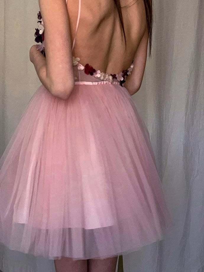 Blush Pink Short Homecoming Dress with Spaghetti Straps 80023783