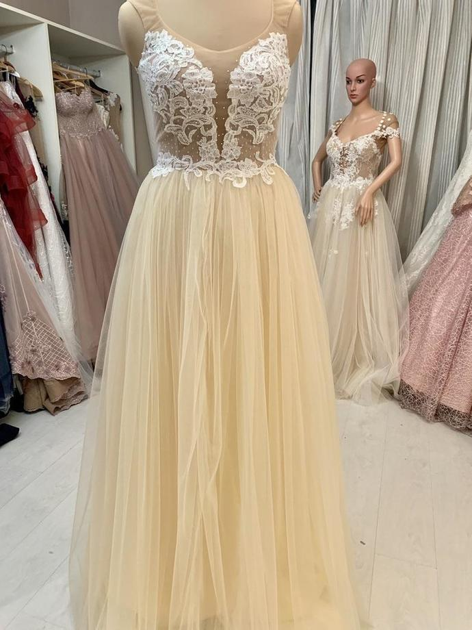 Champagne A-line Tulle Long Prom Dress with White Lace Applqiues 8002378