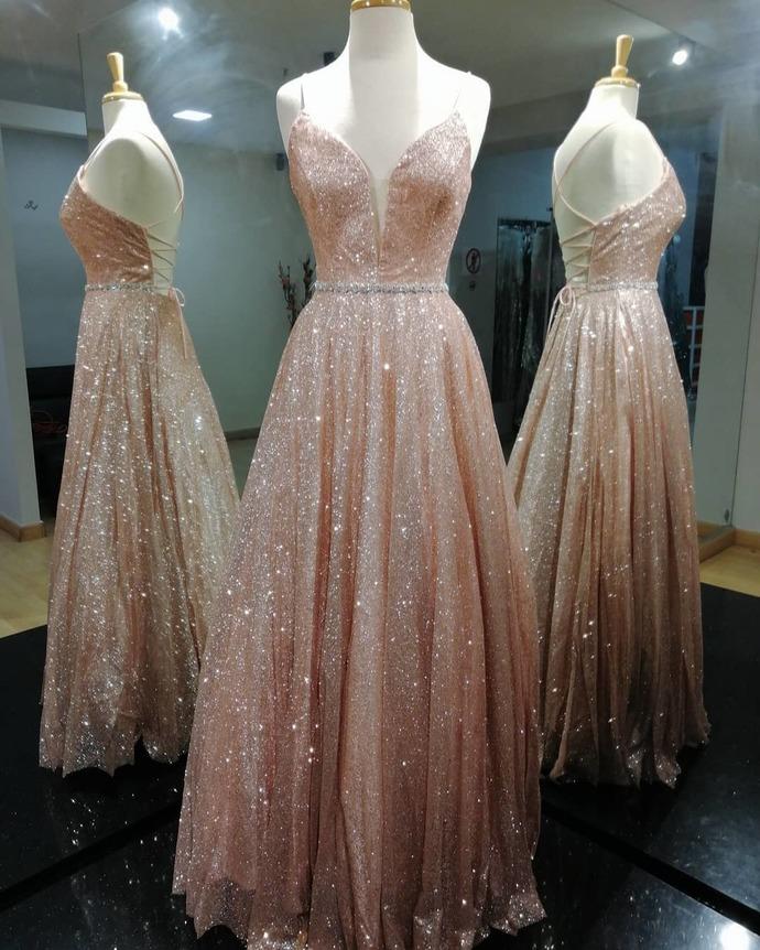 Rose Gold Sequins A-line Long Prom Dress 8002371