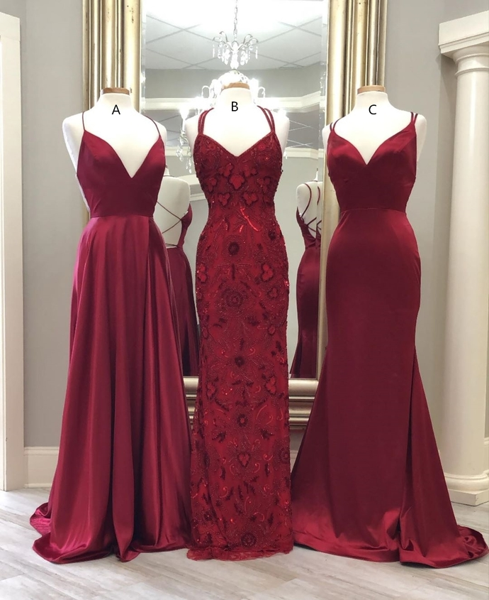Elegant Wine Red Long  Formal Dresses 8002364