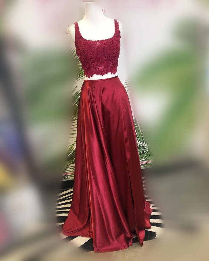 Two Piece Wine Red Long Prom Dress 8002358