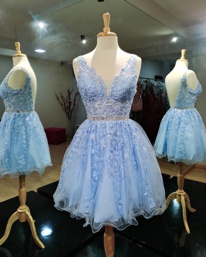 Light Blue A-line Short Homecoming Dress 8002354