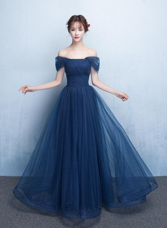 Navy Blue Long Party Dress, Tulle Sweetheart Bridesmaid Dress