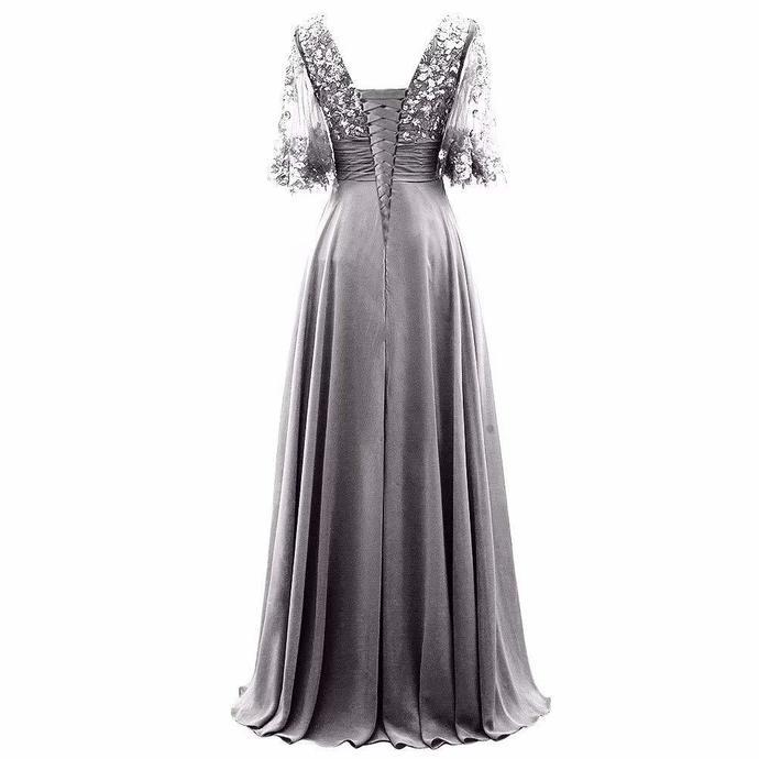 Grey Chiffon Long Mother of the Bride Dress 8001749