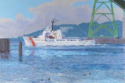 """Alert At The Bridge"" Paper Giclee Print Coast Guard Cutter by Carol Thompson"
