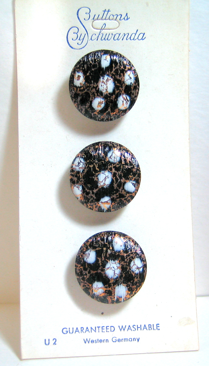 Black Glass Buttons with White Glass Overlay and Gold Luster threading 7648-8