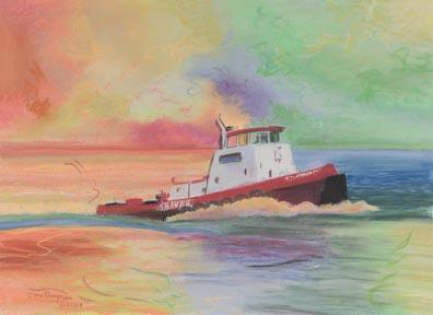 """Big Shaver"" Paper Giclee Print Tugboat by Carol Thompson"
