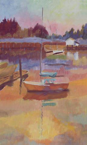 """The Red Sailboat"" Paper Giclee Print Sailboat by Carol Thompson"