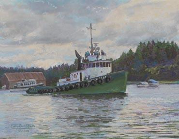 """""""Duncan Foss"""" Paper Giclee Print Tugboat by Carol Thompson"""
