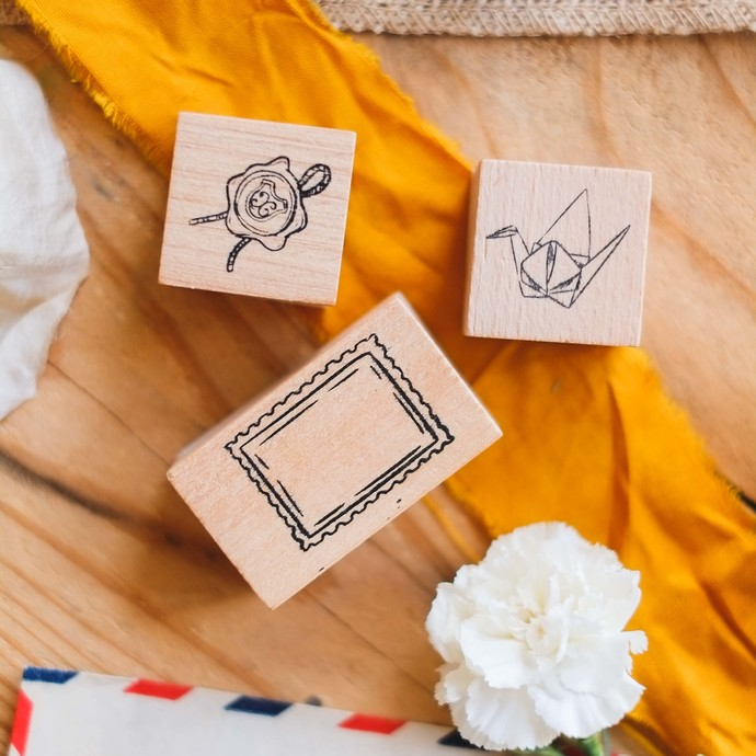 London Gifties design wooden rubber stamps - Postal Paper's set